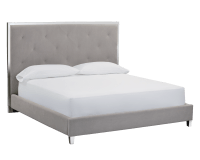 PATRIA BED – KING – VINTAGE LINEN GREY FABRIC