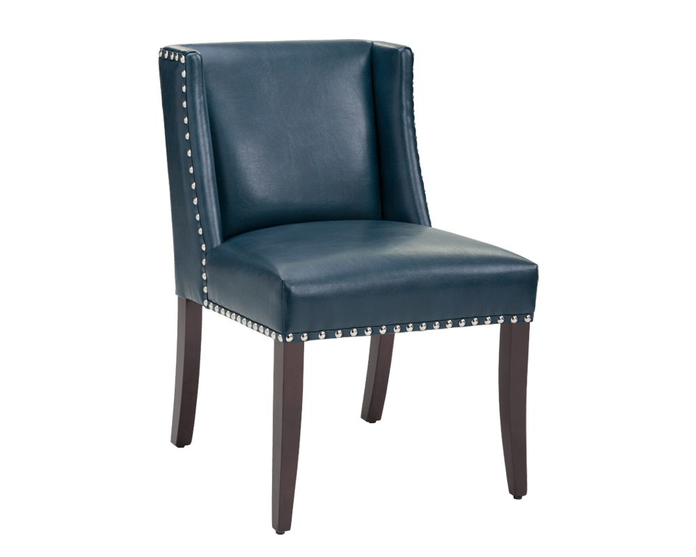 MARLIN DINING CHAIR  BLUE LEATHER  metro element