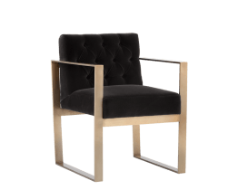 TAMELA ARMCHAIR – ANTIQUE BRASS – GIOTTO SHALE GREY FABRIC