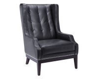 BIBLIOTECA ARMCHAIR – BLACK LEATHER