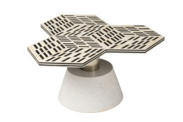 5th Avenue Art Deco Coffee Table – Bone Inlay W/ Marble