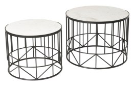 Valencia Round End Table – White Marble + Black Matte