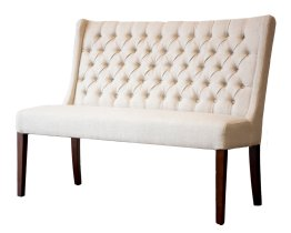 Lauren Tufted Dining Bench – White Russian Fabric