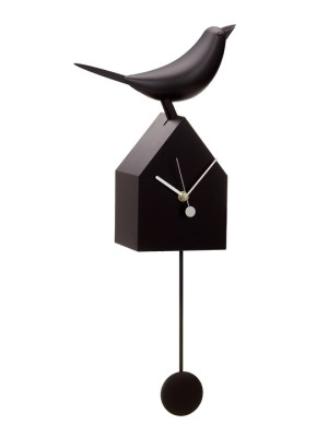 Motion Birdhouse Clock with Removable Pendulum – Black