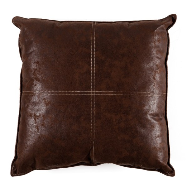 Maverick Faux Leather 24×24 Cushion – Choc Brown