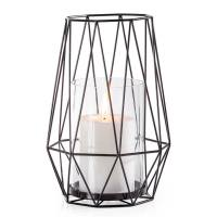 Diamond Deco Metal Hurricane Candle Holder – Black