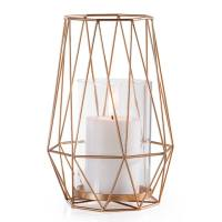 Diamond Deco Metal Hurricane Candle Holder – Gold