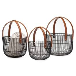Mission Wire Faux Leather Handle Baskets – Set of Three
