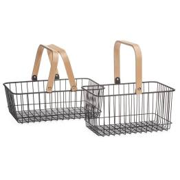 Tempo Nested Storage Baskets Set of Two – Black