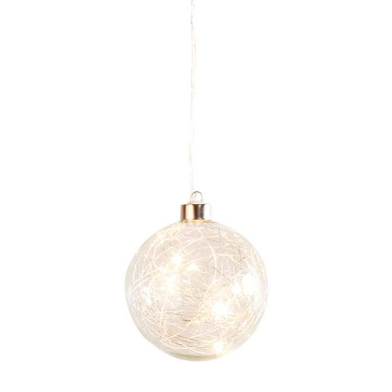 Hanging Orb Clear Glass 4″ Diameter LED Decor Ball