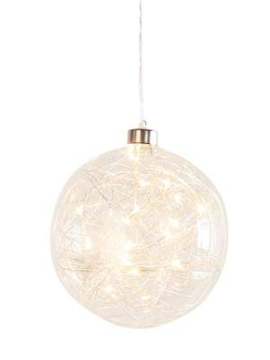 Hanging Orb Clear Glass 6″ Diameter LED Decor Ball