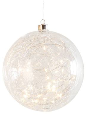 Hanging Orb Clear Glass 8″ Diameter LED Decor Ball