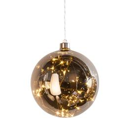 Hanging Orb Smoke Mirror Glass 6″ Diameter LED Decor Ball