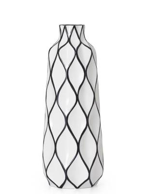 Abstract 15.5″h Lattice Outline Ceramic Vase