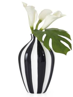 Abstract 11.5″h Black Band Ceramic Gourd Vase