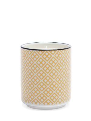 Kiri Wax Filled Porcelain Votive Candle Cup – Yellow with Black Trim