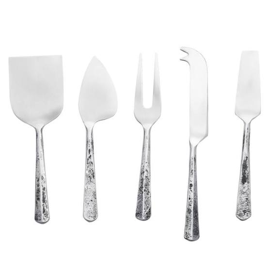 Distressed Handle Stainless Steel Assorted Cheese Knife Set – Set of Five