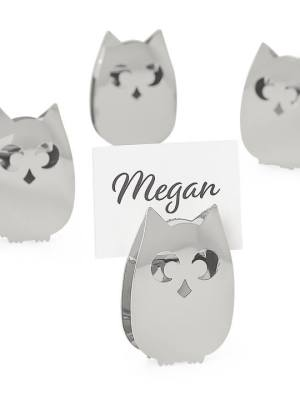Owl Stainless Steel Place Card Holders Set of Four