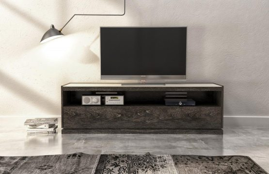 """CLOE 66"""" media base with laquered glass top"""