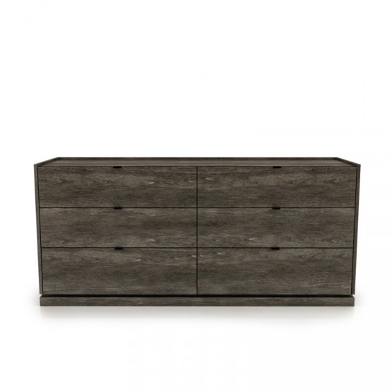 CLOE 6 drawer dresser with laquered glass top