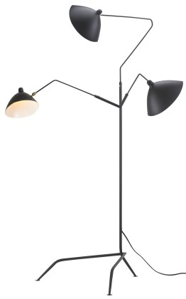 Gyoza Single Floor Lamp Matte Black Aluminum Shade with Brass Hardware