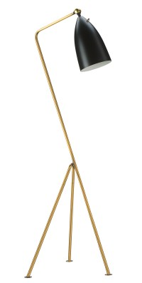 Stickman Floor Lamp Matte Black Aluminum Shade with Black Metal Stem and Brass Hardware
