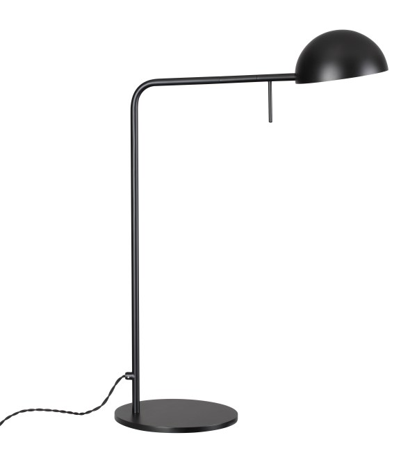 Orca Floor Lamp Matte Black Aluminum Shade with Steel Stem and Nickeled Brass Hardware