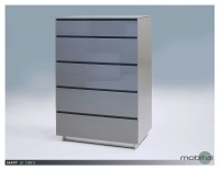 Savvy 5-Drawer Chest High Gloss Light Grey with Glass Top