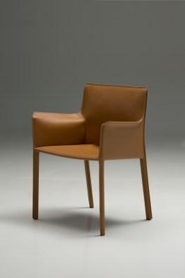 Fleur Arm Chair Black Full Leather Wrap