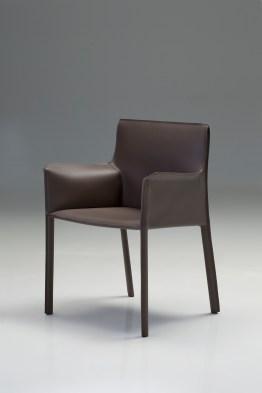 Fleur Arm Chair Grey Full Leather Wrap