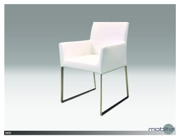 Tate Arm Chair Grey Leatherette  with Brushed Stainless Steel