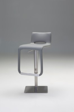 Astro Hydraulic Bar Stool White Leatherette with Polished Stainless Steel