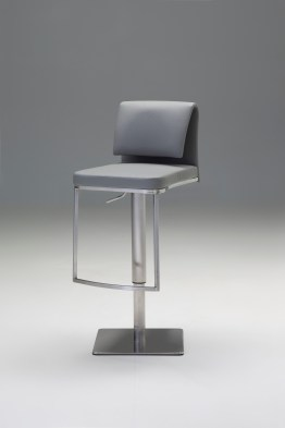 Lucia Bar Stool Leather with Polished Stainless Steel