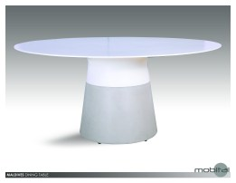 Maldives 49″ Round Dining Table White Solid Surface with Fiber Concrete Base