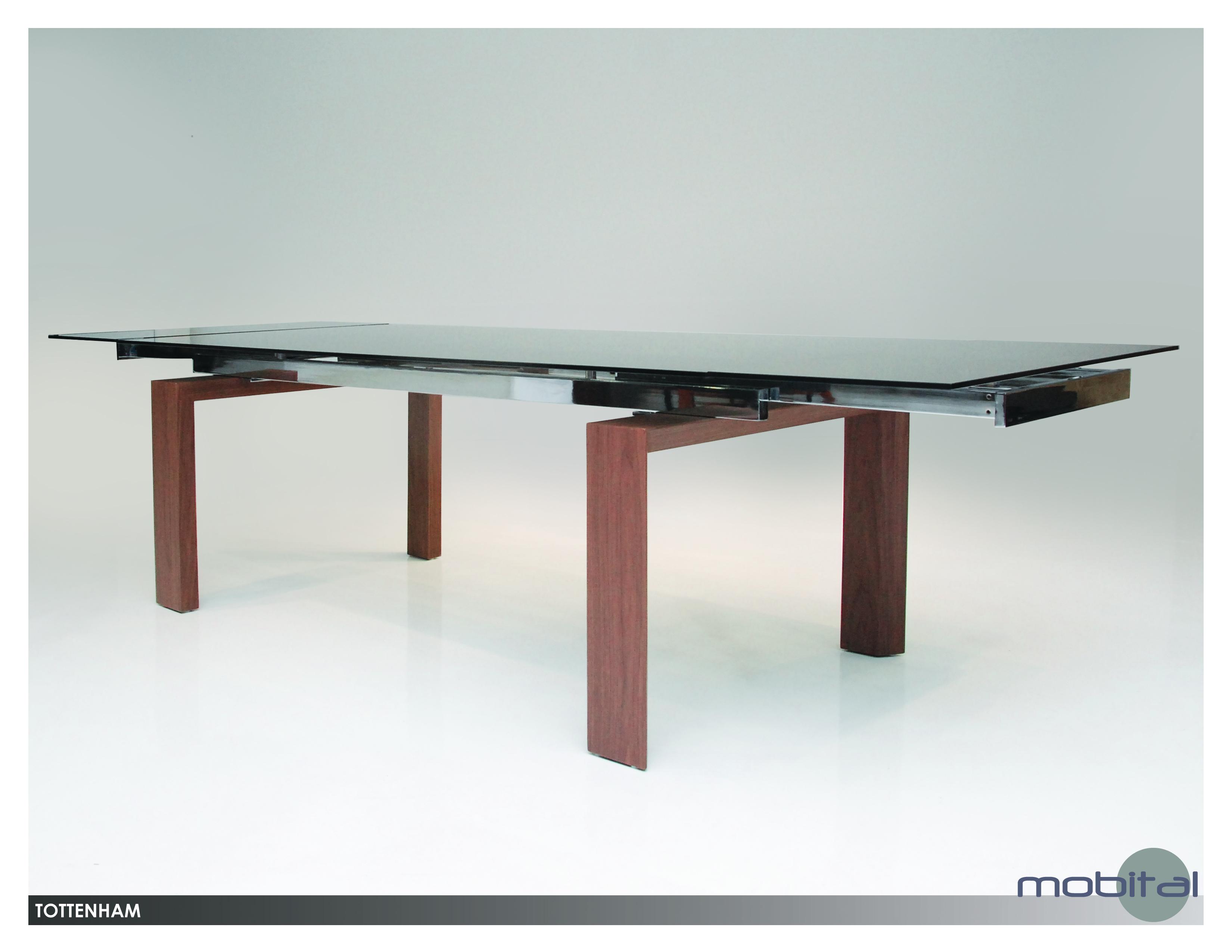 Tottenham Extending Dining Table Smoke Glass With Walnut Veneer Legs Metro Element