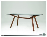 Trestle Dining Table Clear Glass with Solid American Walnut