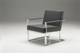 Motivo Arm Chair Black Leatherette with Polished Stainless Steel