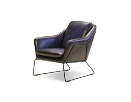 Jasper Lounge Chair Antique Black Leather with Light Black Powdered Coated Steel