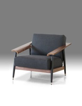 Wakefield Lounge Chair Grey Fabric with Birch Black Wood