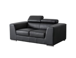 Camelo Love Seat Silver Colored Leather with Black Powder Coated Legs