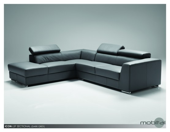 Icon LSF Sectional Black Premium Leather with Side Split