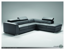 Icon RSF Sectional Black Premium Leather with Side Split