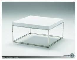 Kubo 30″ Square Coffee Table High Gloss White with Stainless Steel