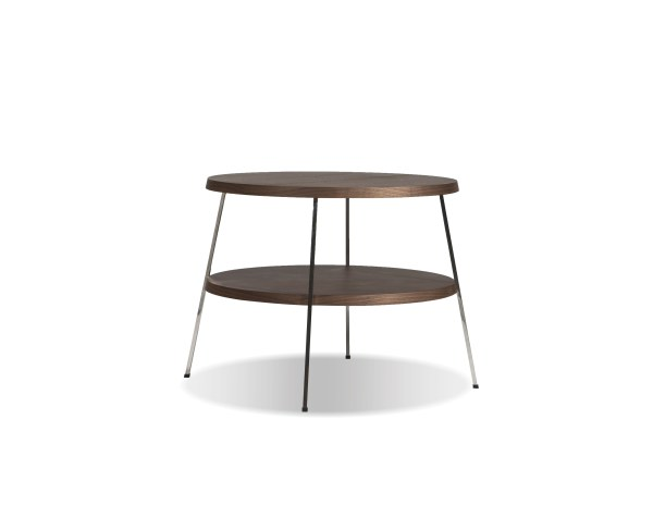Double Decker 18″ Diameter Medium End Table American Walnut Veneer Tops with Polished Stainless Steel Frame