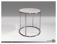 Double Decker 12″ Diameter Small End Table American Walnut Veneer Tops with Polished Stainless Steel Frame