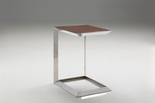 Horseshoe 20″ Low End Table American Walnut with Polished Stainless Steel