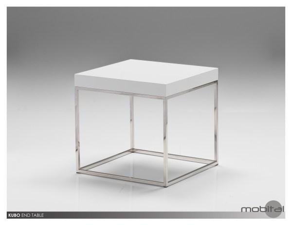 Kaii 18″ Tall End Table White Volakas Marble with Black Iron Legs