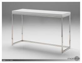 Kubo Sofa Table High Gloss White with Stainless Steel