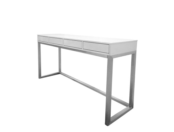 Palco  Sofa Table High Gloss White with Brushed Stainless Steel