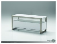 Brando 39x16x18 TV Stand High Gloss White with Polished Stainless Steel